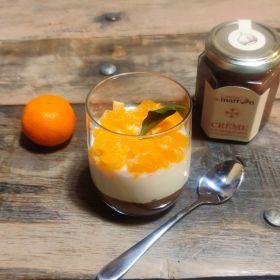 Verrine crème de marrons, fromage blanc et clémentines